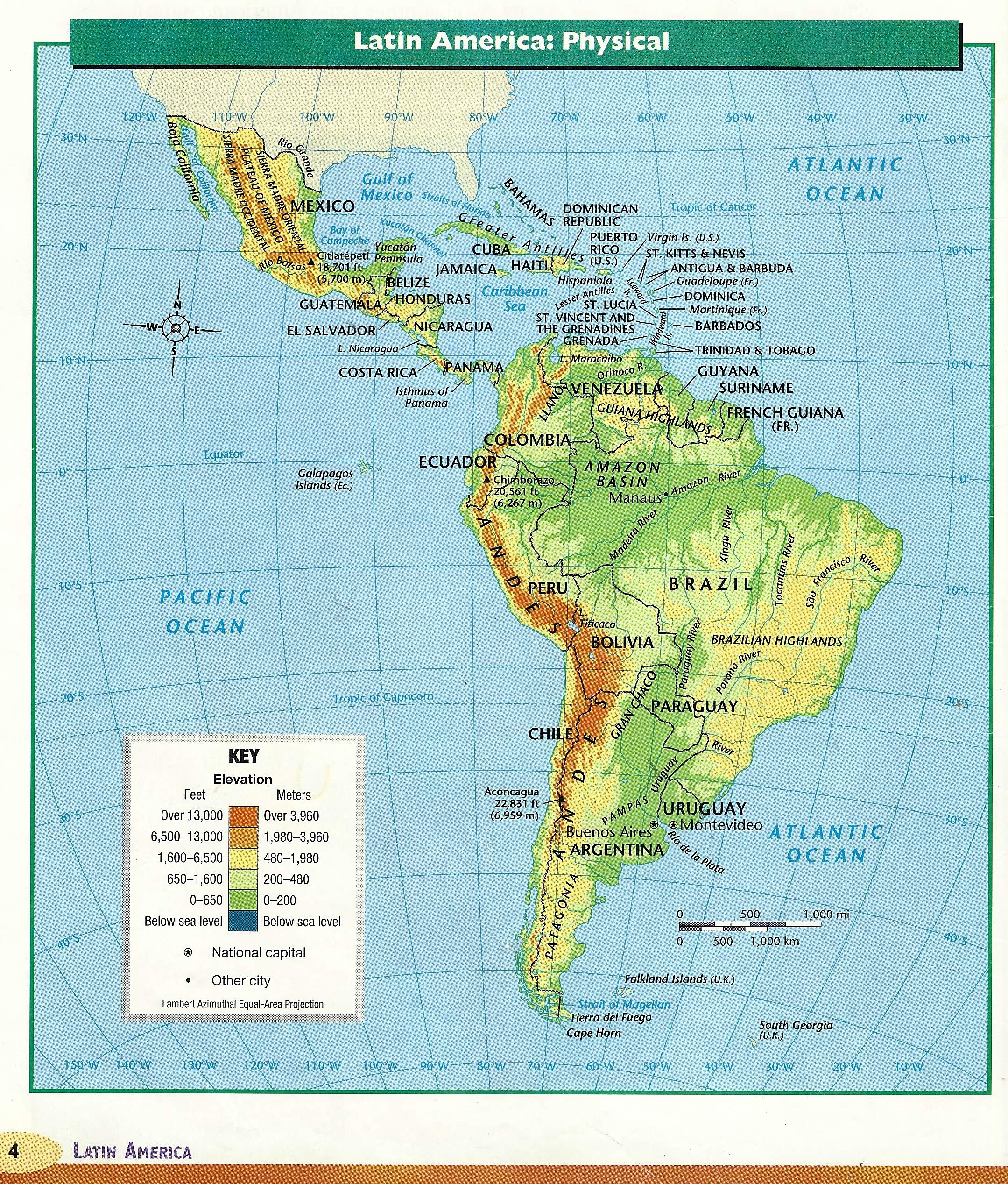 South America Physical Map - Maps of the World